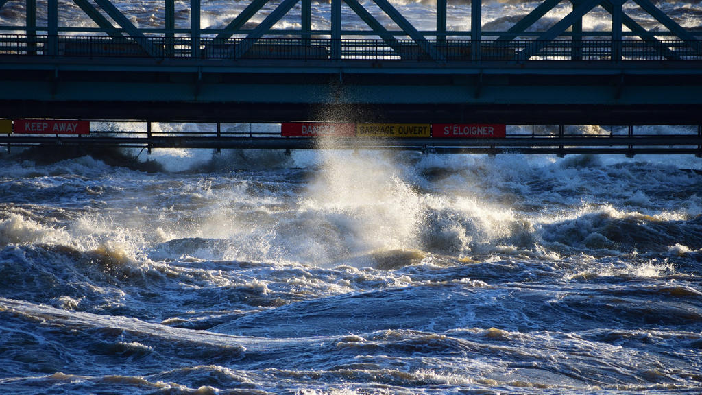 High water at the Chaudière Bridge, Ottawa, Canada, 2019.