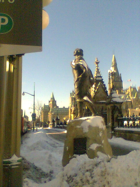 Statue of Sir Galahad in front of Parliament Hill, Ottawa.