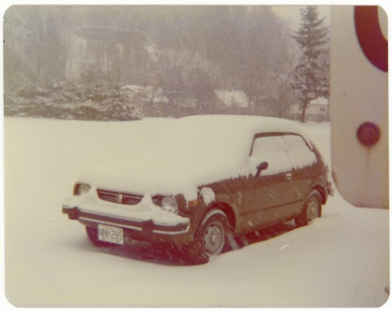 My then brand new Honda Civic, CFB Chilliwack, 1974.