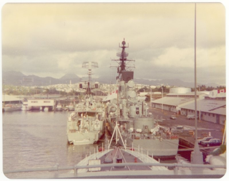 NZ and Aussie warships from flying bridge of HMCS Mackenzie, Ex RIMPAC 75, Pearl Harbor, 1975.