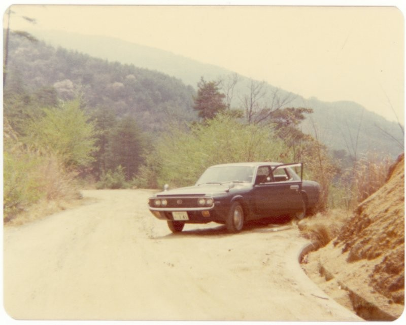 Rented Toyota in the mountains, Hiroshima Prefecture near Kure, Japan, 1975.
