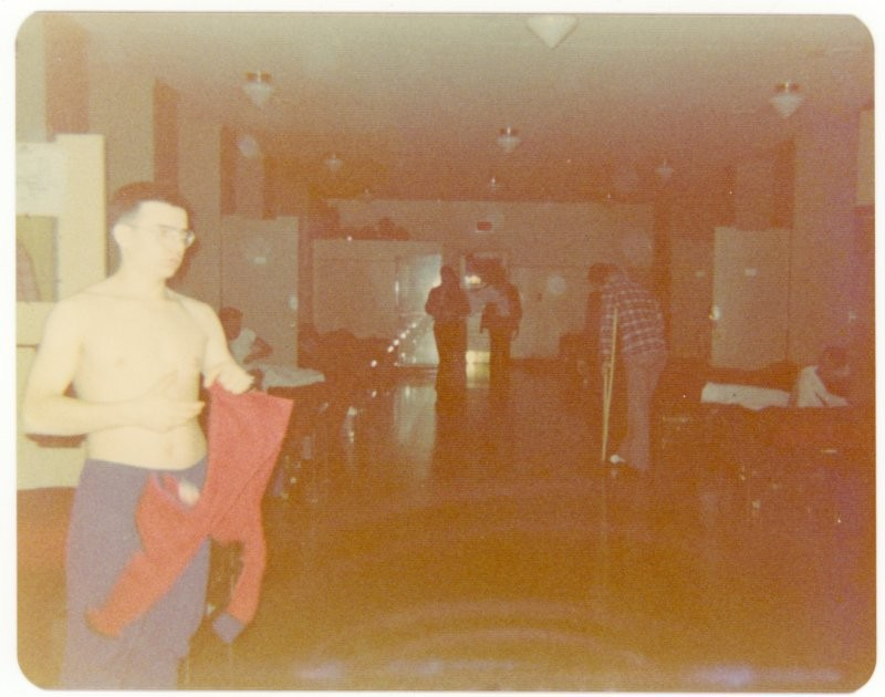 Walking wounded, 7 Platoon barracks, Course 7412, CFOCS Chilliwack, British Columbia, 1975.