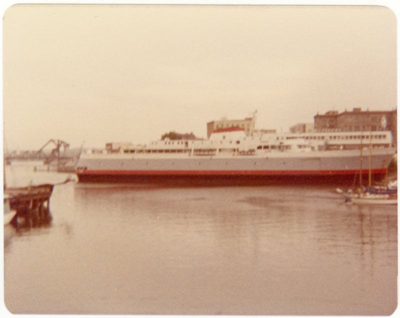 MV Coho ferry to Port Angeles USA, Inner Harbour, Victoria BC, 1975.